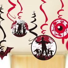 9 PC/Set Zombie Metallic Foil Hanging Swirls Decorations for Scary Halloween Bash Party