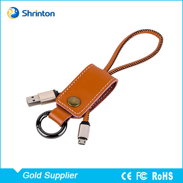 32CM PU Leather Short Micro USB Charging Data Cable Keychain for Smartphone