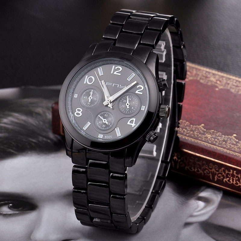 Black Women Stainless Steel Dress Watch with SL68 Quartz Movement