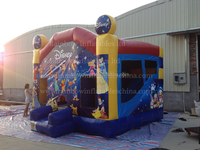 Used Cartoon type inflatable jumping castle combo,bounce house for sale