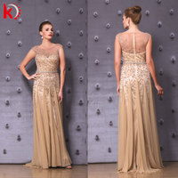 2015 New Gorgeous Stylish Cap Sleeve Glitter Crystal Beaded Sequin Sexy Transparent Back Elegant Gold Kleid Lang