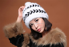Chinese knit mink fur hat black winter hats with headphones winter hat with led