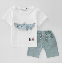 Summer children clothes casual kids wear 1-5years 100% cotton cartoon toddler boys clothing sets