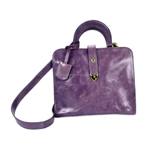 Online Shopping Elegant Personalized Genuine Leather Purple Chain Trapeze Ladies Bag with Handles