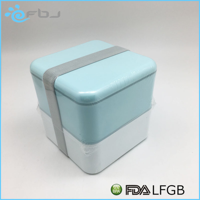 2017 LFGB Square Plastic 2 Layers Bento Lunch Box Food Container