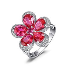 Created Red 925 sterling silver genuine ruby ring