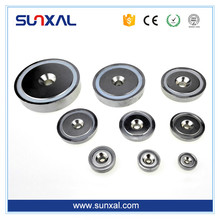 Strong Pull Force Threaded Flexible Cheap Ndfeb Neodymium Pot Magnet/Cup Magnet With Countersunk Holes,Screws, Hooks