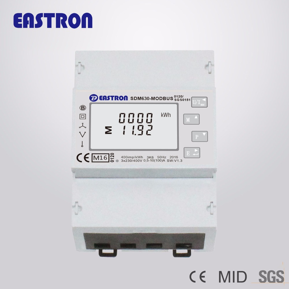 SDM630Modbus, MID ,Three Phase four wire Bi-directional Multifunction Energy Meter, Power Monitor,10(100)A Direct Connection