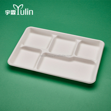 Biodegradable Tableware Disposable Rectangle 5 Compartment Food Trays
