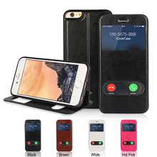 Window View Case Flip TPU Silicone Shell Stand Ultral Thin Crazy Horse Leather Cover for iPhone 5 5s SE 6 6s Plus 7 7 Plus