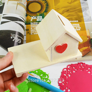 Money Boxes Wood Chalet Red Heart Coin Room White Art Decor Children DIY Wooden Crafts Toys