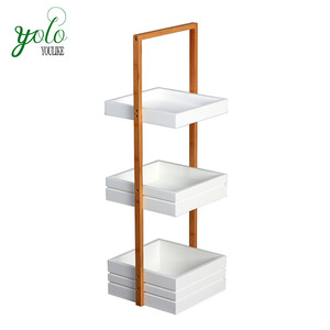 3 Tier Tidy Organiser Shelves Bamboo Bathroom Free Standing Shower Caddy