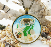 Ocean Necklace Metal Pendant fashion models