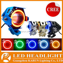 Motorcycle factories spare parts chinas Angel Devil Eye U7 Motorcycle Led Fog Spot Light Lamp