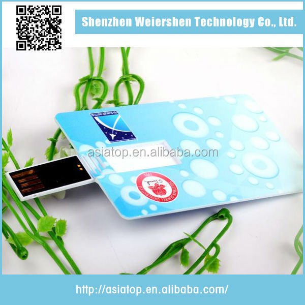 2015 New design plastic credit card shape usb flash memory 1000gb