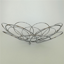 BIG CIRCLE BOWL SHAPE STRONG CHROME PLATED METAL WIRE FRUIT BASKET