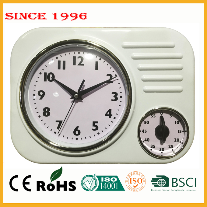 Plastic wall clock timer kitchen appliance for home decoration pieces 9178 white