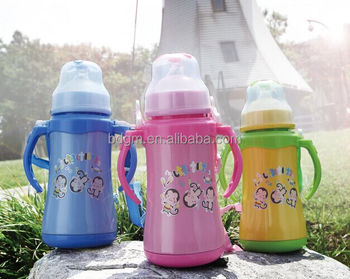 Stainless steel vacuum kids water bottle Children Thermos with nipple and sipper BPA Free