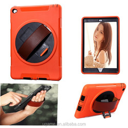 New design 3 in 1 hybrid 360 rotate stand with hand strap colorful case for iPad air