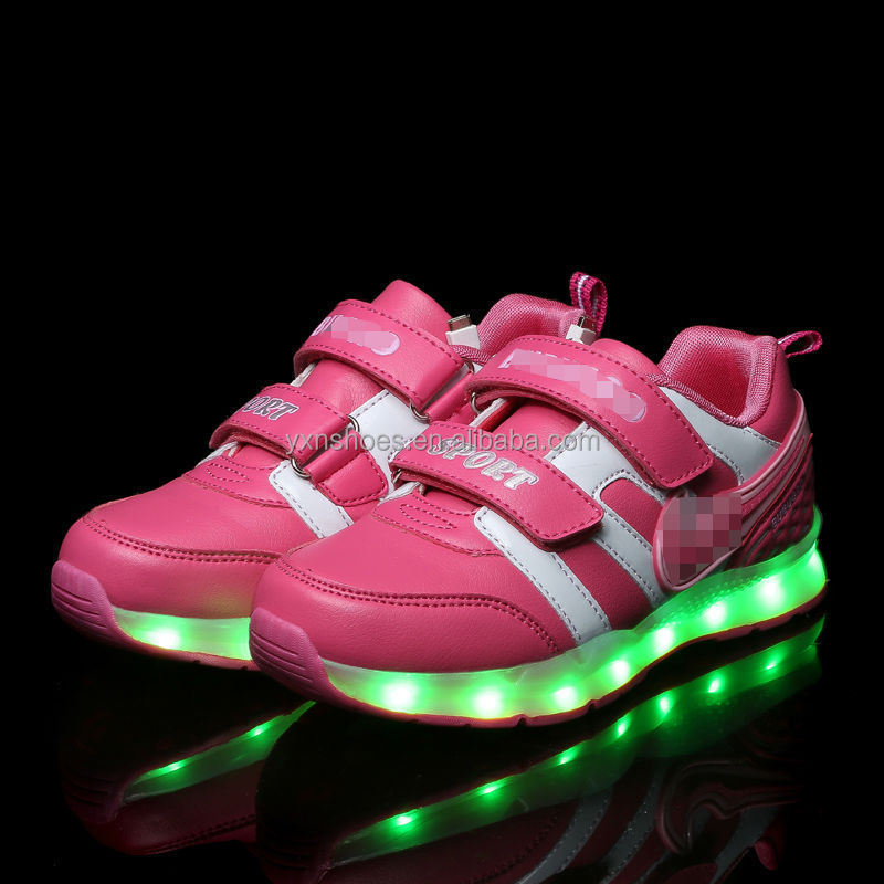 Eight color led light kids shoes for girls boys fashion, high quality children sport shoes led light flash with USB