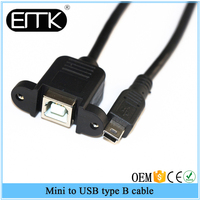 Mini USB 5pin Male to USB B Female panel mount type Cable 25cm with screws