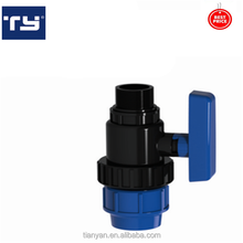 PP taizhou factory price PN16 high pressure threaded blue 1/2 inch male union ball valve