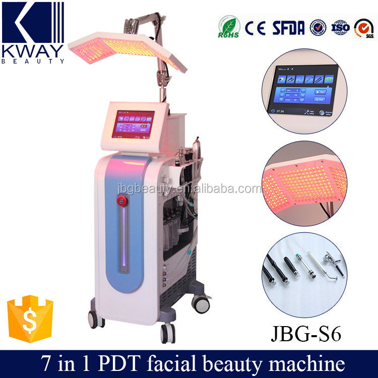 6 in 1 Multifunctional colorful PDT beauty equipment crystal microdermabrasion Water Oxygen jet peel machine