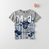 boys t-shirt with all over printing, puff print on front, 95%cotton 5% spandex high quality