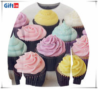 Fashion round neck pullover, custom 3d sublimation full printing 3D sweater