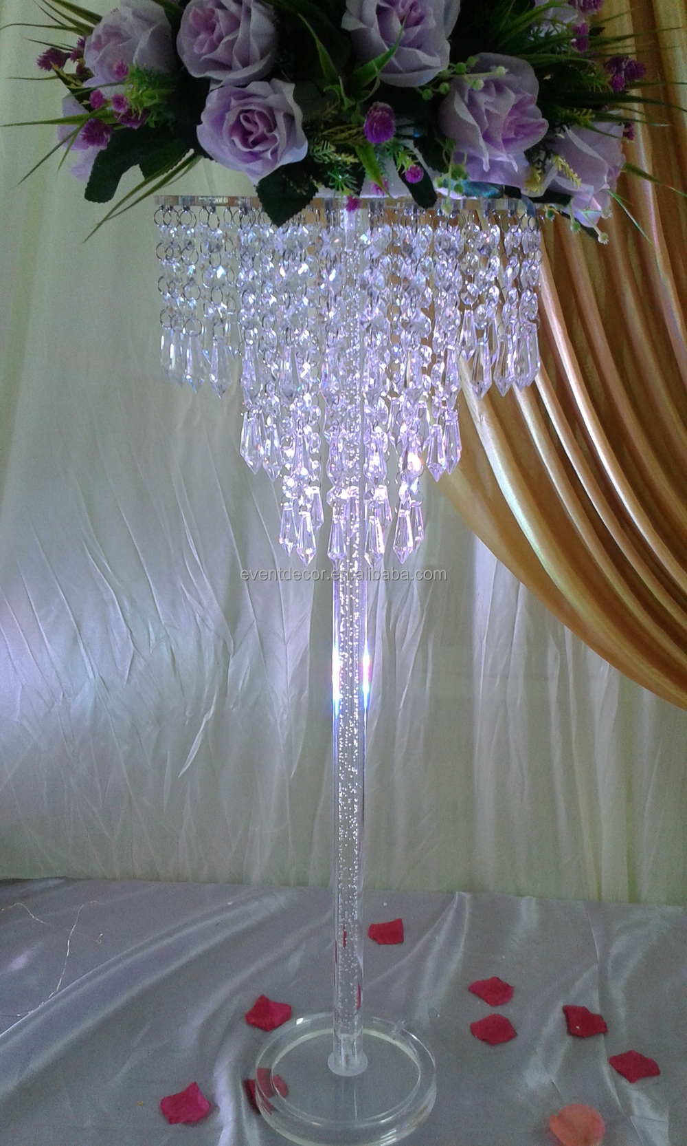 New large flower and feather centerpiece with crystal pole