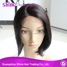 fashion 100% remy AAAAAA quality no shed remy human hair bob style silk top lace wigs