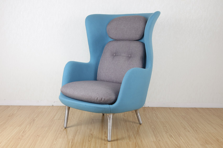 Modern recliner leisure chair / french blue grey lounge chair