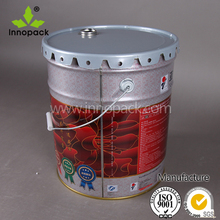printed 5 gallon paint metal bucket with flower lid and handle
