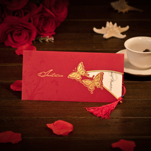 Promotional 50% discount antique elegant Chinese handmade traditional red wedding invitations with butterfly and tassels