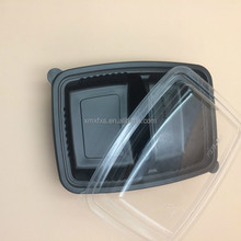 Disposable PP Black Plastic 2 Compartment Meal Tray