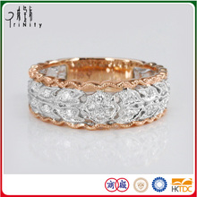 18K Solid Gold 1 Gram Gold Diamond Ring For Men in White and Rose