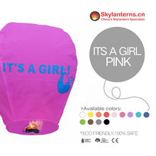 It's A Girl Printed Purple Luminary Eco Friendly Sky Lanterns
