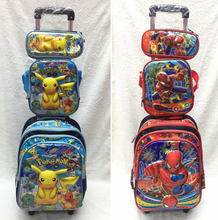 Wheeled School Bags for kids 6D Pokemon Trolley Backpack Children Travel Luggage 3pcs sets