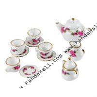 Porcelain Tea Set Decorations, Magenta, Size: Saucer: about 15mm in diameter, 3mm thick (SJEW-R026)