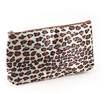 Black Brown Leopard Print Zipper Closure Cosmetic Makeup Tool Bag w Mirror