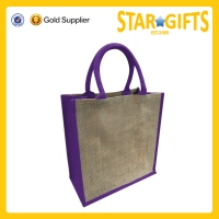 Custom Logo Printed Natural Promotional Jute Shopping Bag