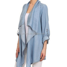 F40594A Women clothing tops fashion jeans long ladies cardigan coat