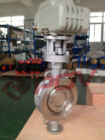 hot sale triple eccentric electric flanged hard sealing butterfly valve