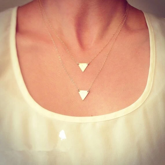 Free shipping Simple Design Charming gold triangle Pendant <strong>Necklace</strong> Factory Direct Sale