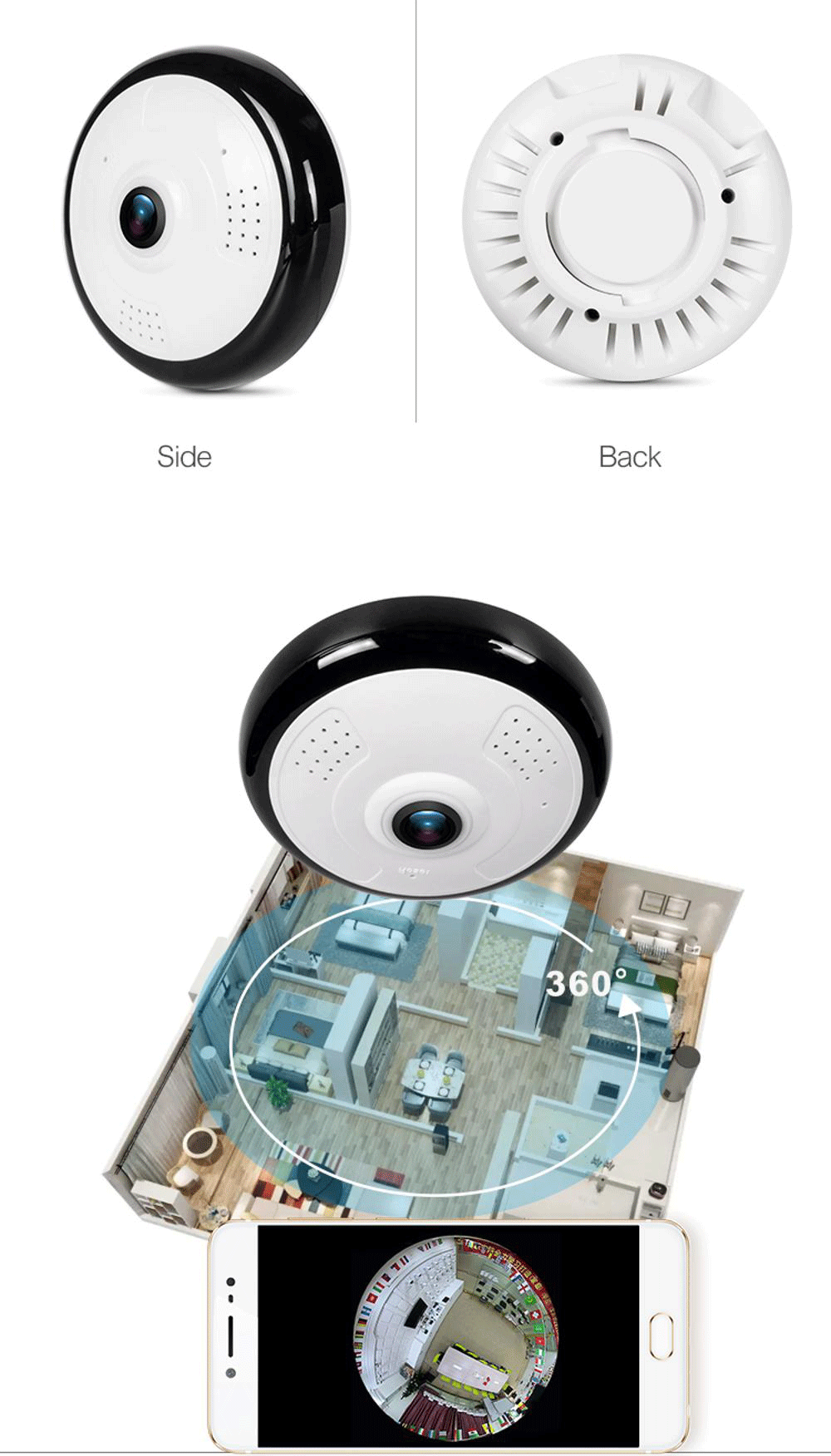 Popular 1.3Mp 360 Degree VR Panoramic Motion Detection Alarm 2-Ways Audio TF Card Max.128Gb Mini Hidden Wifi Camera