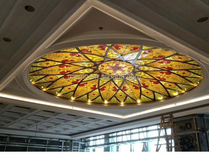 Tempered double glazing stained glass church dome with base