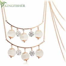 2014 New fashion jewelry crystal necklace design with gold chain!! Hand craft cat eyes crystal necklace design for women!!