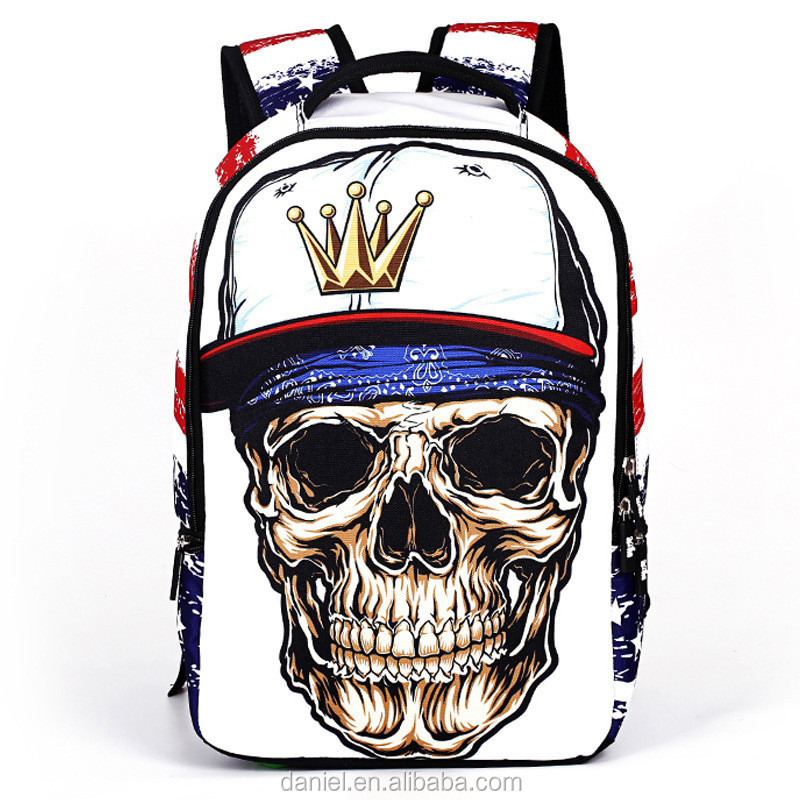 Special horrible skull printing teenager travel sports backpack bags polyester school bag