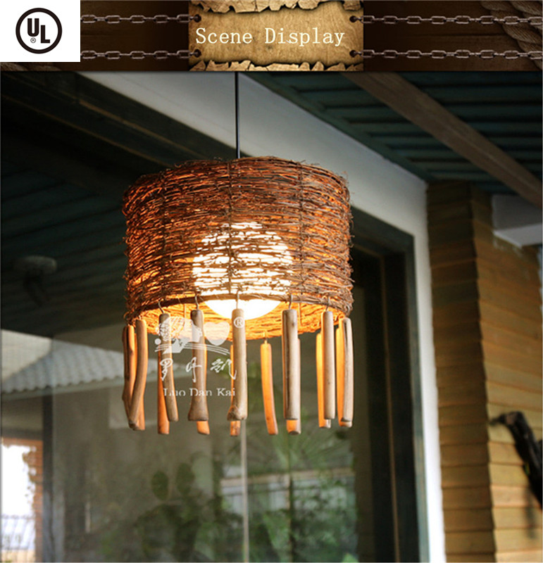 Hot sale rattan branch suspension holiday village ceiling light