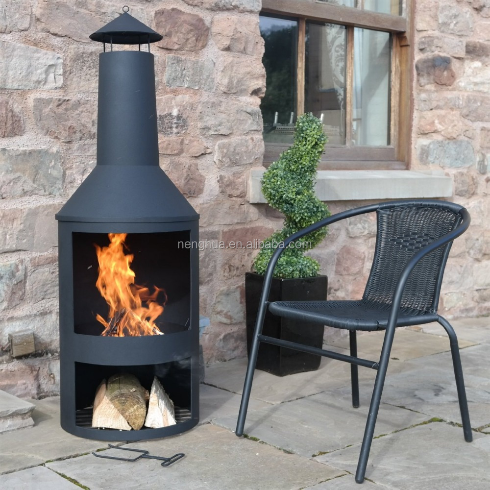 Outdoor Garden Extra Large Chimenea Black Patio Heater Fire Pit Burner